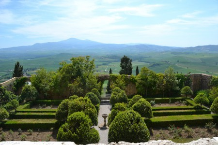 Piccolomini Gardens at Pienza in southern Tuscany