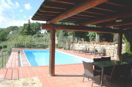 Tuscan villa pool with a gazebo